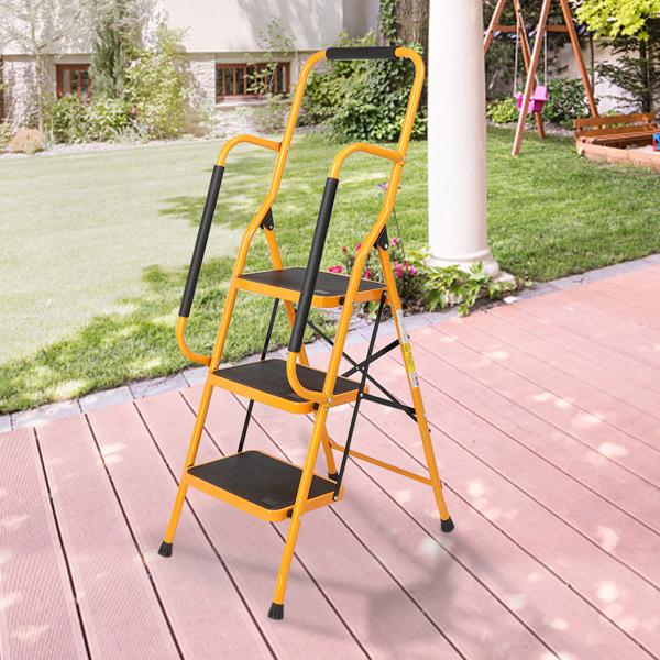 铁制 3踏步 带扶手 踏步梯 姜黄色