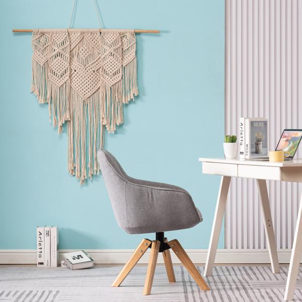 FCH 靠背绗缝竖条 麻布 软包 实木腿 浅灰色 室内休闲椅 简约北欧风格 S101