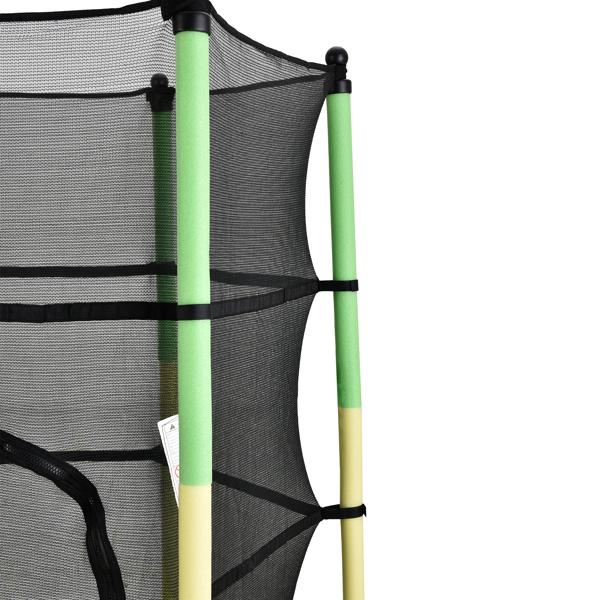 FCH 55in 黄绿护杆 绿色外罩 S001 直脚迷你圆形内网 蹦床