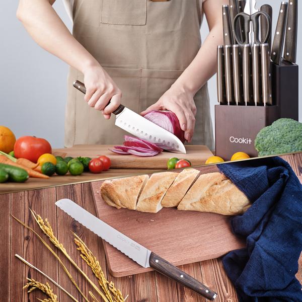 木柄刀15件套德国钢厨房套装刀 亚马逊禁售