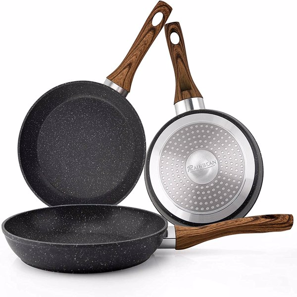 厨房煎锅套装炒锅煎鸡蛋锅压铸麦饭石3件套