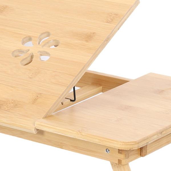可伸缩桌腿双花带抽屉楠竹笔记本电脑桌50*30*20cm