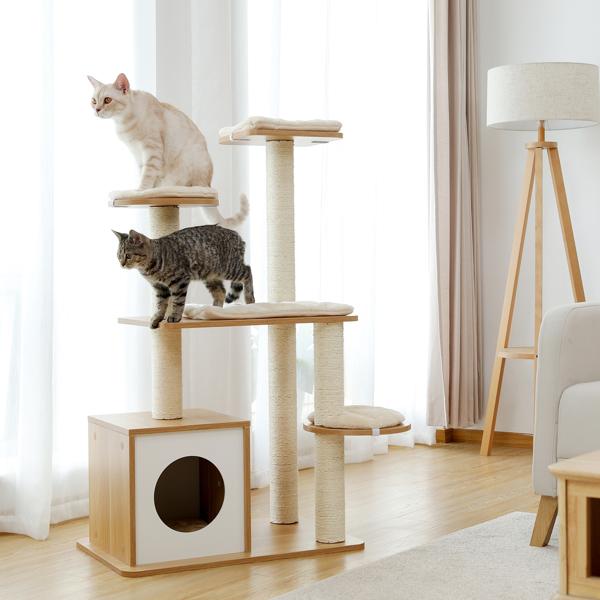米色豪华猫台带有大型舒适猫窝,各类大小的躺窝,剑麻猫抓柱,侧边猫跳跃平台,适合各类大小的猫锻炼,休息