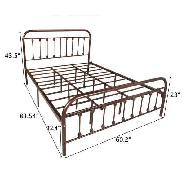 大号双人床双排支撑,古铜