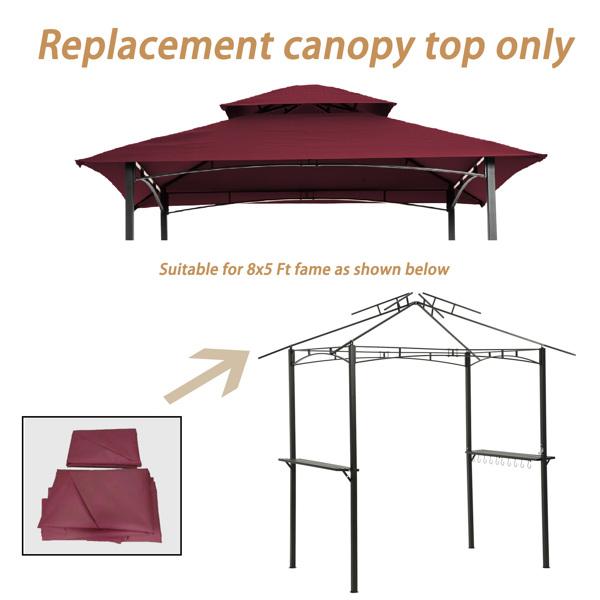 8X5Ft烧烤露台蓬顶替换顶布,双层烧烤帐篷顶盖顶布(酒红色)