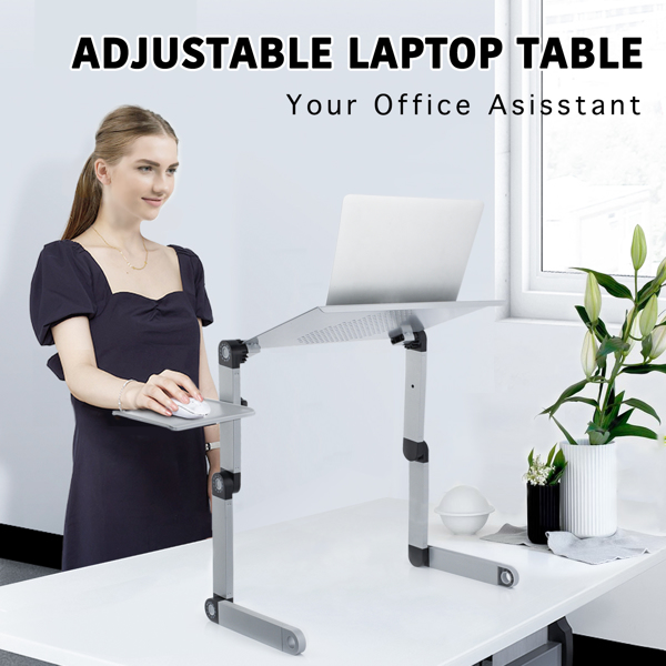 铝合金折叠笔记本电脑桌支架床上桌银色