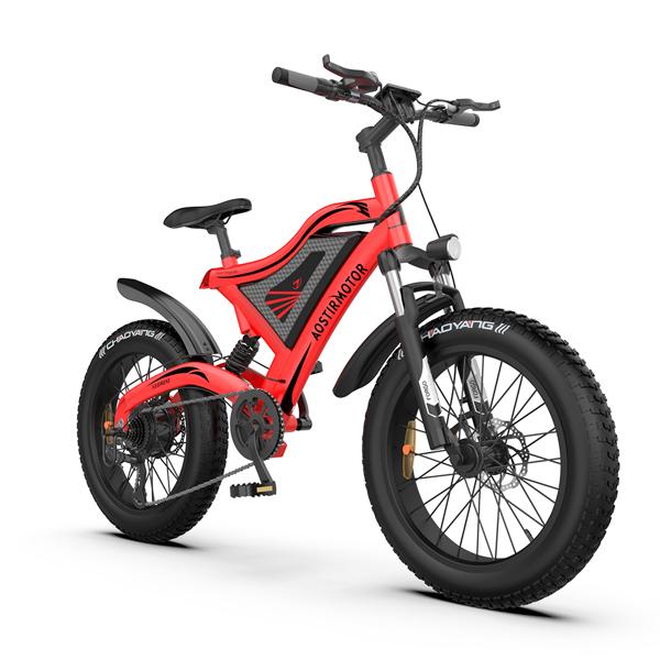 "AOSTIRMOTOR 20"" 电动自行车500W电机48V15Ah可拆卸锂电池零售限价$1499 S18-MINI-Red"