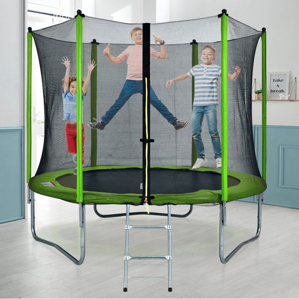 10ft 绿色 N001 圆形外网型带梯子 蹦床