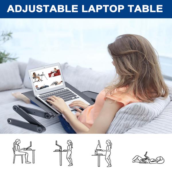 铝合金折叠笔记本电脑桌支架床上桌双风扇黑色
