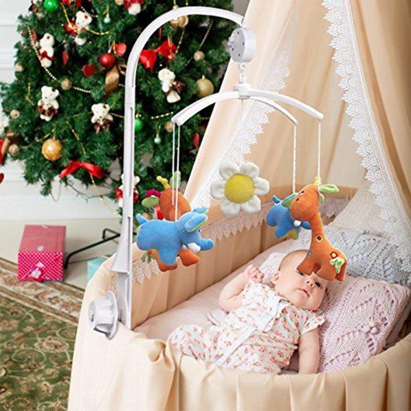BB5C支架2节6cm+吊铃+十字架 婴儿床头吊铃、转转乐音乐铃白色(亚马逊禁售 )