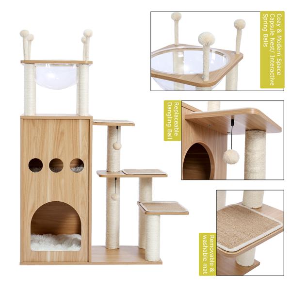 米色豪华猫台带有2个大型猫窝,独特的顶部透明窝,剑麻猫抓柱,侧边猫跳跃平台,适合多只猫锻炼,休息