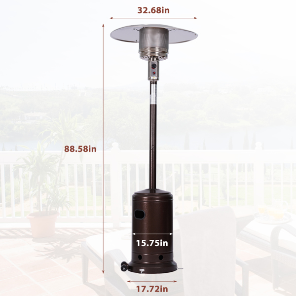 户外立式燃气加热器,带滑轮便携式庭院加热器(铜色)