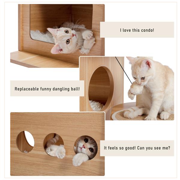 米色独特猫台带有2个豪华猫窝,宽敞的顶部躺窝,剑麻猫抓柱,侧边猫跳跃平台