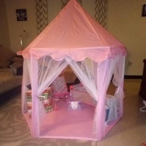 户外室内便携式折叠公主城堡帐篷儿童儿童趣味游乐童话屋儿童游戏帐篷(带LED星灯)