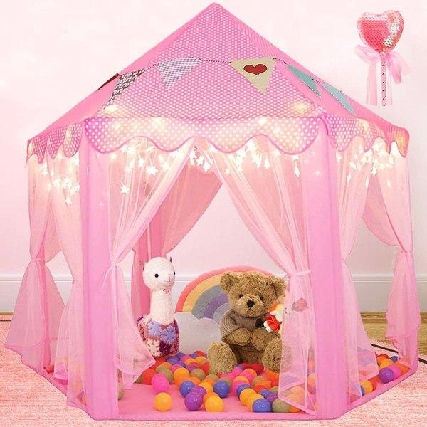 户外室内便携式折叠公主城堡帐篷儿童儿童趣味游乐童话屋儿童游戏帐篷(带暖色LED星灯)