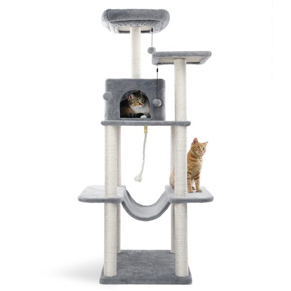 米色多层猫台带有豪华猫窝,2个顶部躺窝,毛绒吊床,剑麻猫抓柱,悬挂毛绒球适合猫玩耍,休息