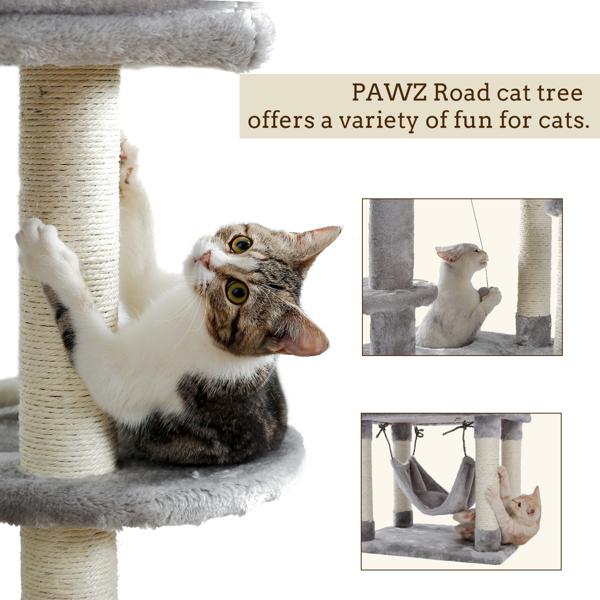 灰色大型猫台带有2个猫窝,2个宽敞的躺窝,3个毛绒吊床,剑麻猫抓柱,侧边有猫跳跃平台,适合多只猫玩耍,休息