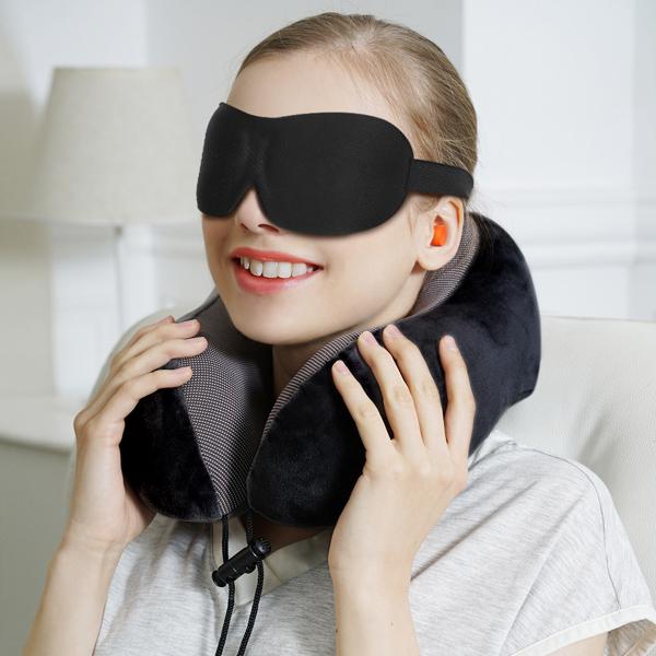 PON慢回弹记忆棉U型枕 黑色(亚马逊禁售)
