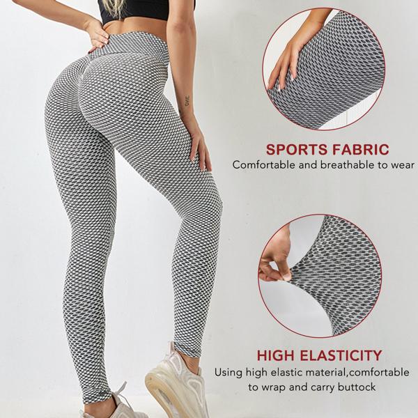 tiktok抖音女士紧身裤提臀运动锻炼高腰瑜伽裤口袋灰XL码