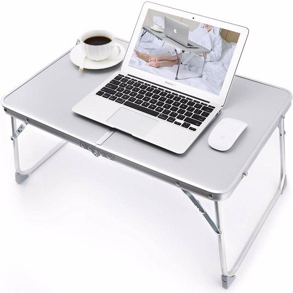 铝合金折叠早餐桌笔记本电脑桌支架床上桌户外餐桌银色