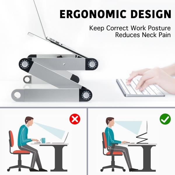 铝合金折叠笔记本电脑桌支架床上桌双风扇银色