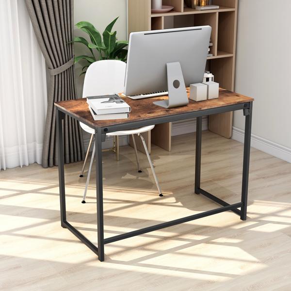 简约风格电脑桌-黑棕色