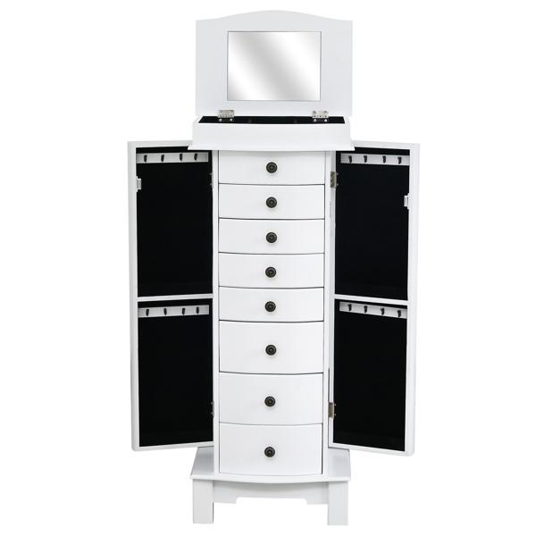FCH 落地式9层8抽3大5小 木制喷漆 白色柜体黑色绒布 珠宝柜 WD19-5# N001