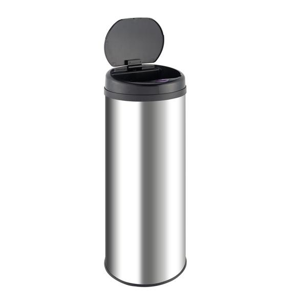 B347 47L 智能垃圾桶 3.00W 圆柱形 带普通镜面桶身 Φ30.5x78 不锈钢 ABS材质 防水 黑色 感应式全自动