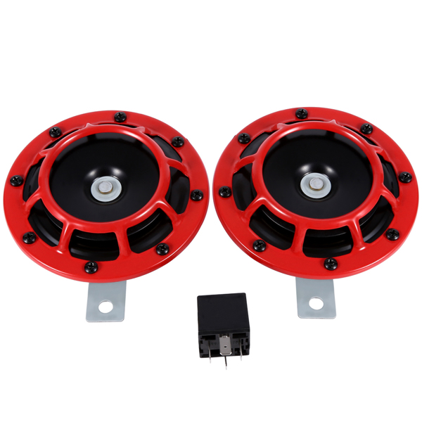 12V盆形高低压鸣笛喇叭带继电器 红色 1对卖