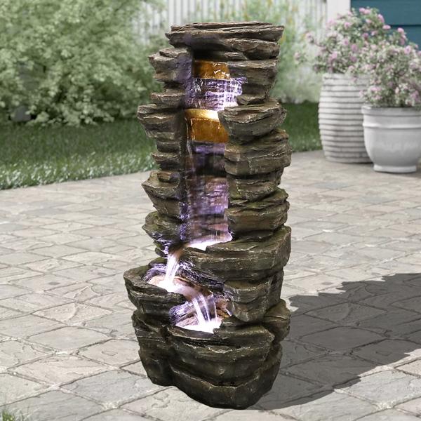 40英寸高假山淋浴室外喷泉带 LED 灯(亚马逊禁售)