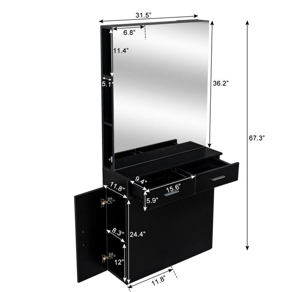 15厘E0刨花板麻面 2抽2门带镜子 沙龙柜 N001 黑色