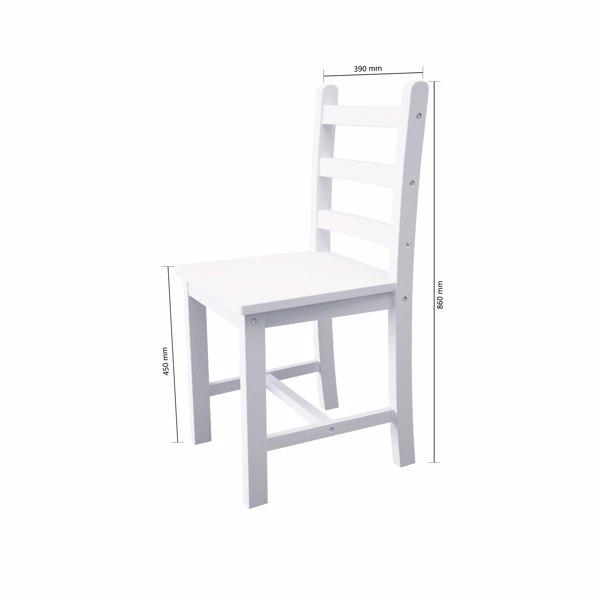 松木桌椅套装一桌4椅全白色