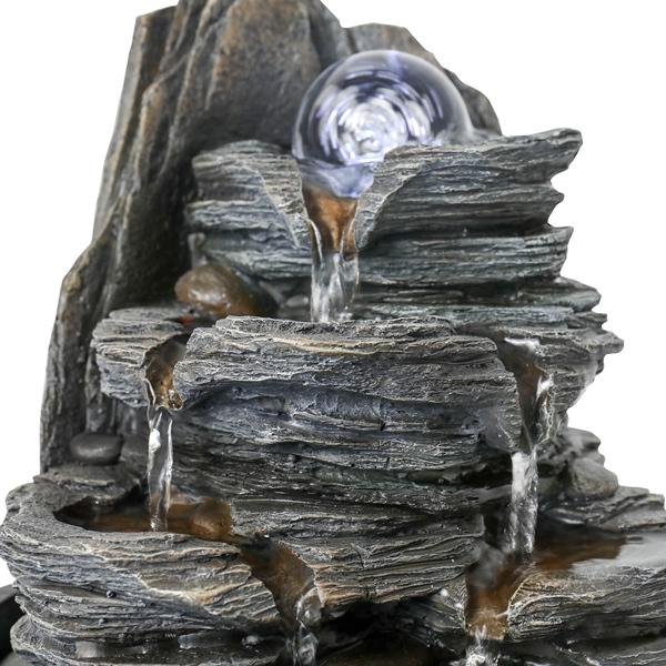 9.8英寸室内桌面喷泉层叠式喷泉带 LED 灯和水晶球(亚马逊禁售)