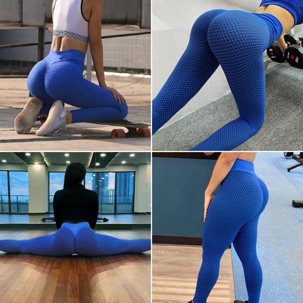 tiktok抖音女士紧身裤提臀运动裤高腰瑜伽裤蓝色S码