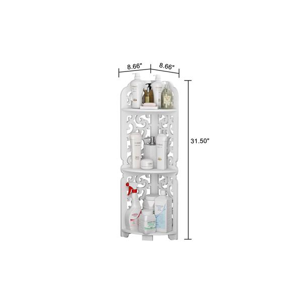 FCH PVC板 三层 22*22*80cm 家用木塑板层架 白色 N001
