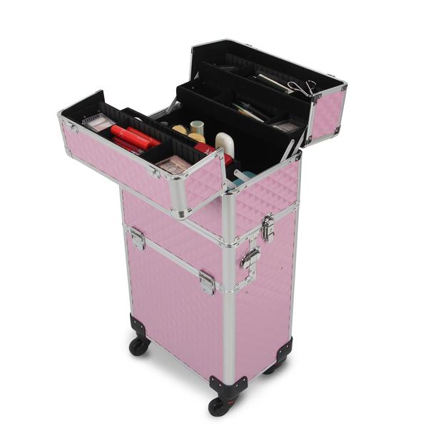 三合一化妆箱 菱形纹 带4个轮子 铝制边框 粉色