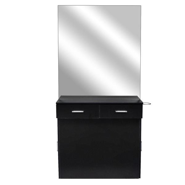 2-2 15厘E0刨花板麻面 2抽2门带镜子 沙龙柜 N001 黑色