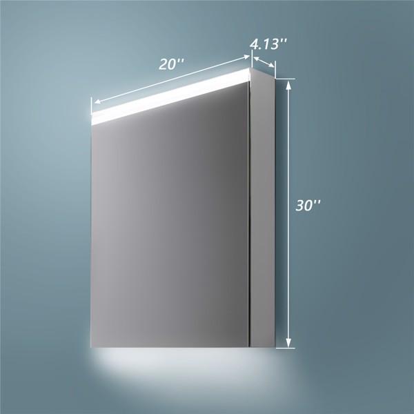 (亚马逊禁售)20英寸x 30英寸LED 照明浴室镜柜,带 3 层储物架,非接触式运动传感器,仅限表面安装(右开门)