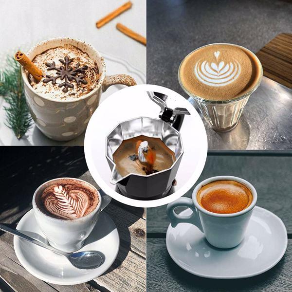 摩卡壶3杯黑色咖啡壶铝质意式咖啡机6 盎司黑色