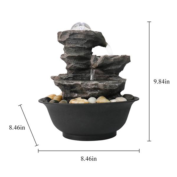 9.84英寸级联树脂岩石瀑布桌面喷泉,带 LED 灯和球,室内室外装饰性桌面喷泉,可缓解压力(亚马逊禁售)