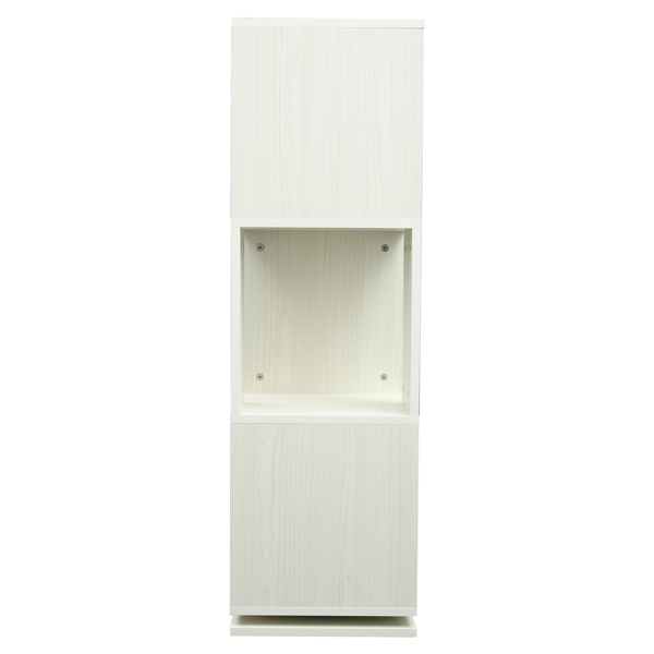 3 层木制书柜转角高书架现代 360° 旋转存储展示架落地式搁板,带开放式设计搁架单元,适合家庭办公室客厅书房,白色