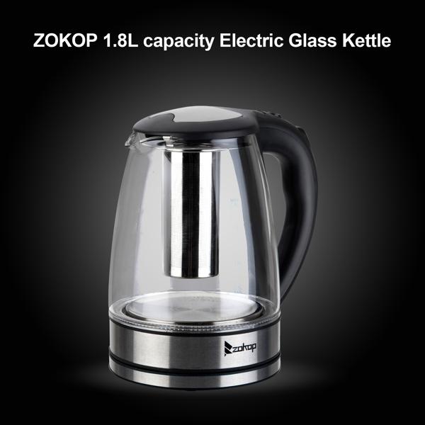 ZOKOP 欧规 HD-1861-A 1.8L 电水壶 220V 2200W 带滤网 玻璃 七彩