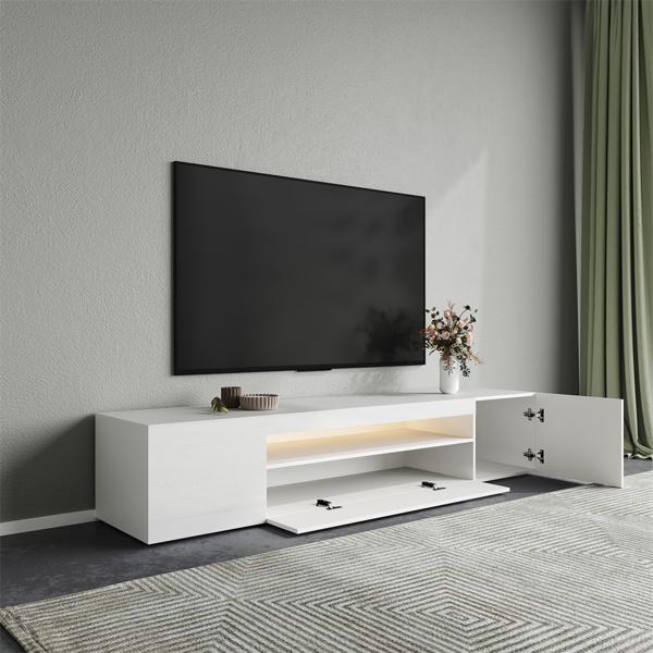 200CM电视柜带LED灯白色