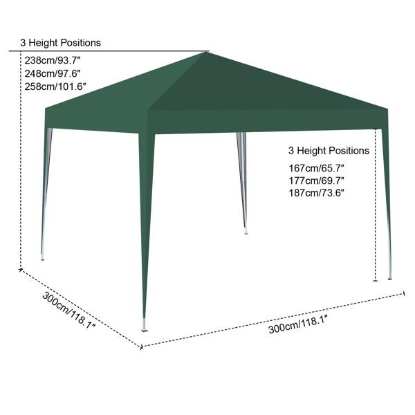 3x3M 弹出式速开凉棚 帐篷 210D 带防水涂层 + 收纳袋 绿色