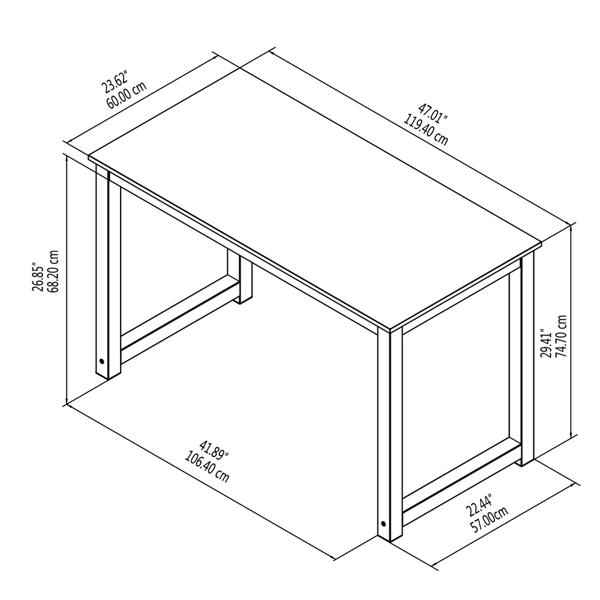 47英寸简约风格电脑桌学习桌,檀香木(亚马逊禁售)