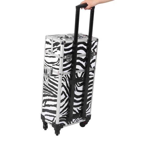 三合一化妆箱 平纹 带4个轮子 铝制边框 斑马纹