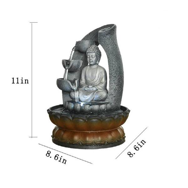 11英寸佛像喷泉风水室内桌面装饰瀑布套件带潜水泵,适用于办公室和家居装饰(亚马逊禁售)