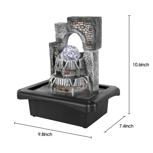10.6英寸室内桌面喷泉带水晶球和 LED 灯(亚马逊禁售)