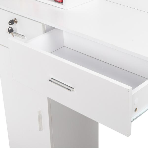 15厘E0刨花板麻面 1门2抽3层架带腿美发柜带锁 沙龙柜 N001 白色