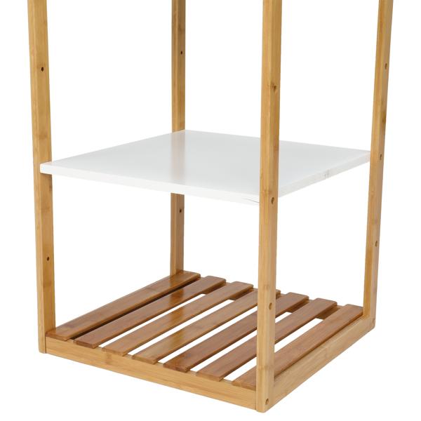 FCH 三层 楠竹 边几 长方形 白色桌面 原木色桌腿 43.2*43.2*63.5cm N101